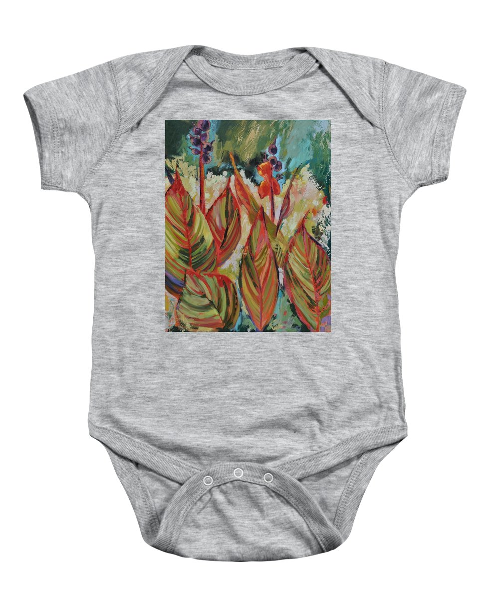 Tropicana Baby Onesie featuring the painting Tropicana by Ginger Concepcion