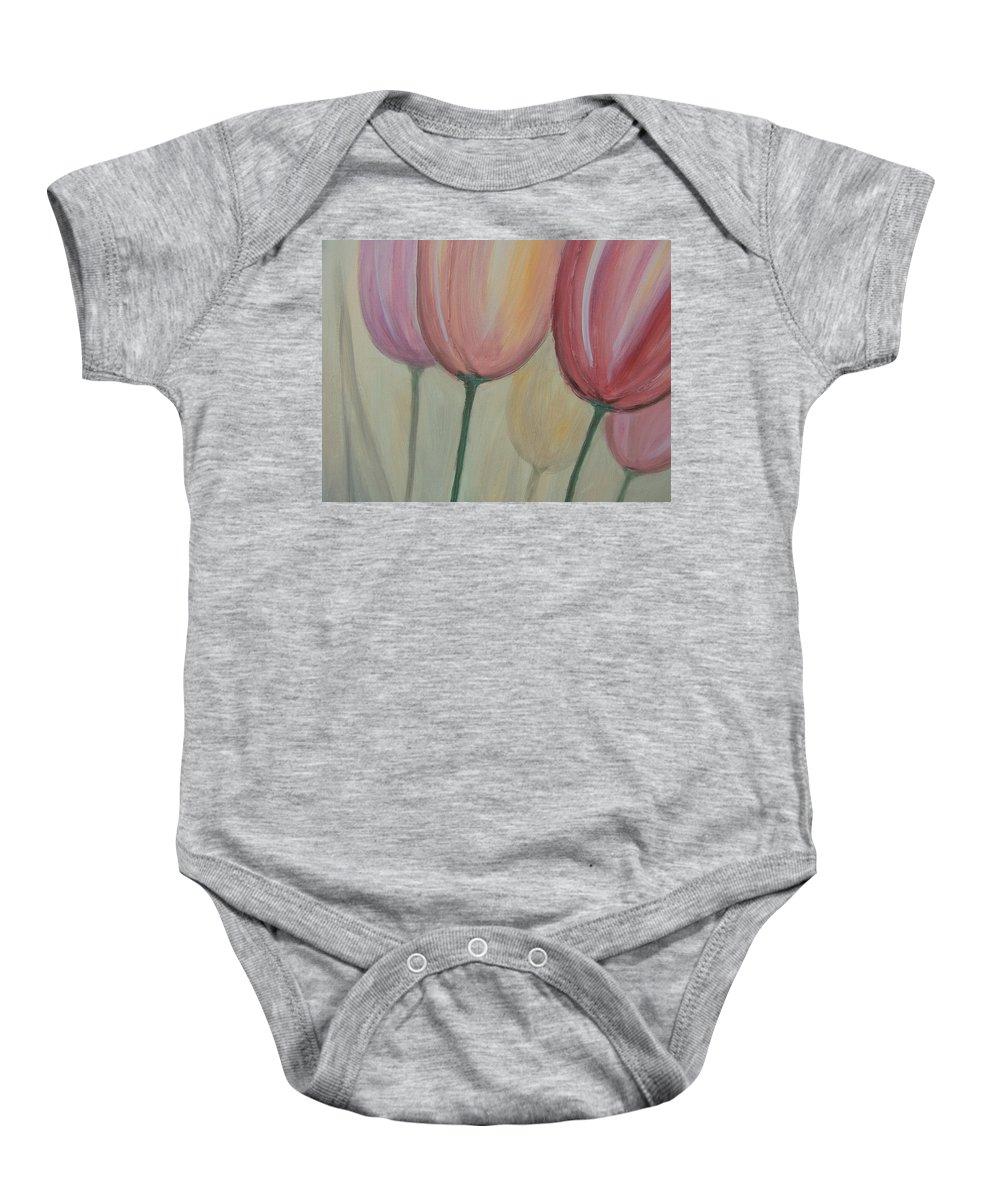 Tulips Baby Onesie featuring the painting Tulip Series 1 by Anita Burgermeister