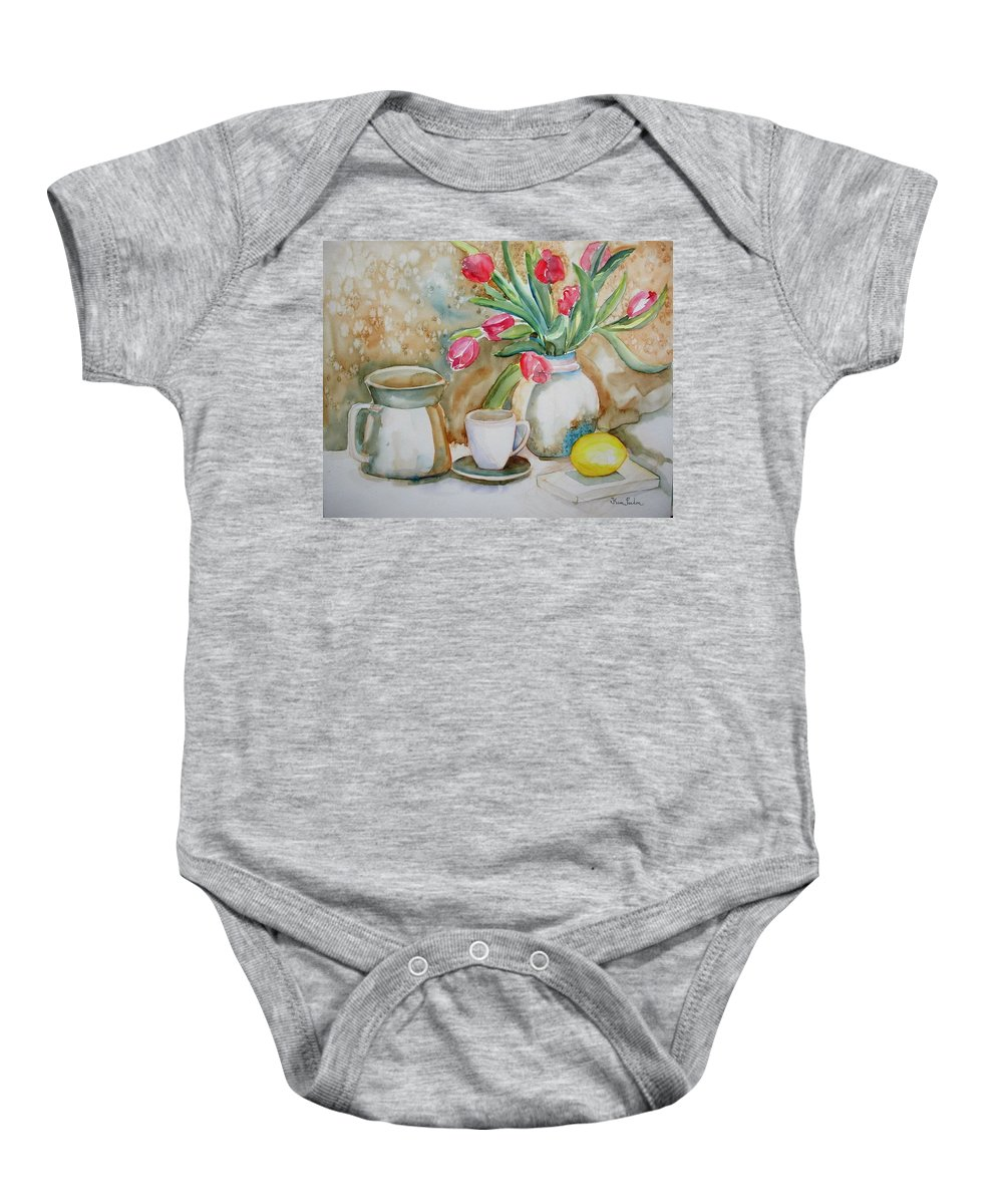 Nature Morte Avec Tulips Baby Onesie featuring the painting Tulipes by Kim PARDON