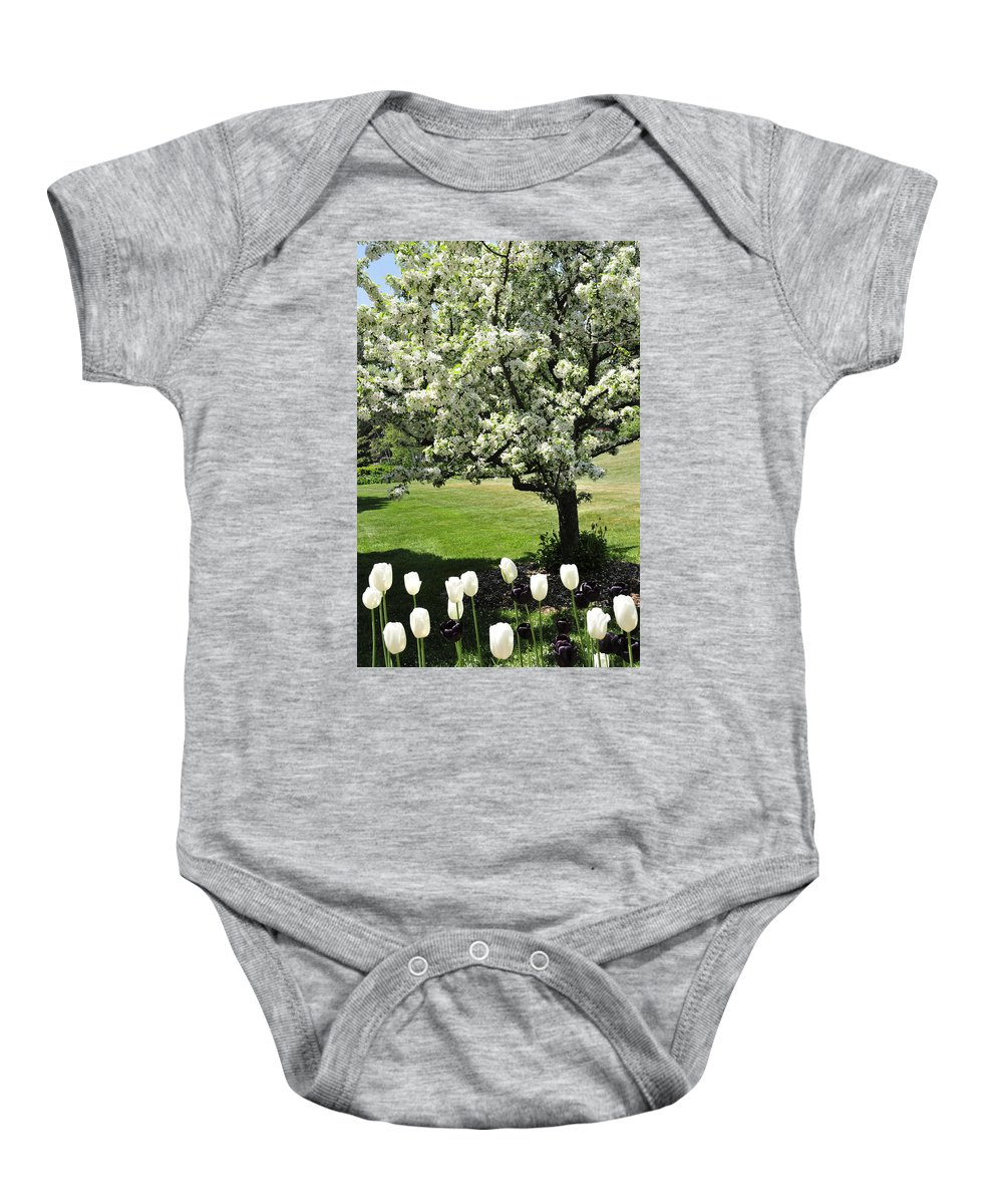 Flowering Tree Baby Onesie featuring the photograph Tulips And Tees by David Arment