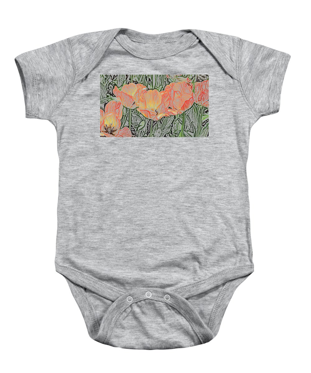 Sherwood Gardens Baby Onesie featuring the photograph Tulips by Donna Haggerty