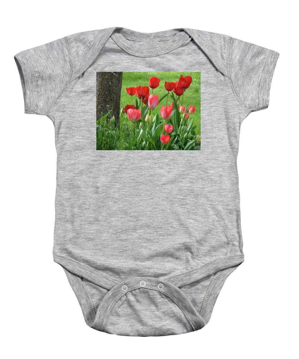 �tulips Artwork� Baby Onesie featuring the photograph Tulips Flowers Art Prints Spring Tulip Flower Artwork Nature Art by Baslee Troutman