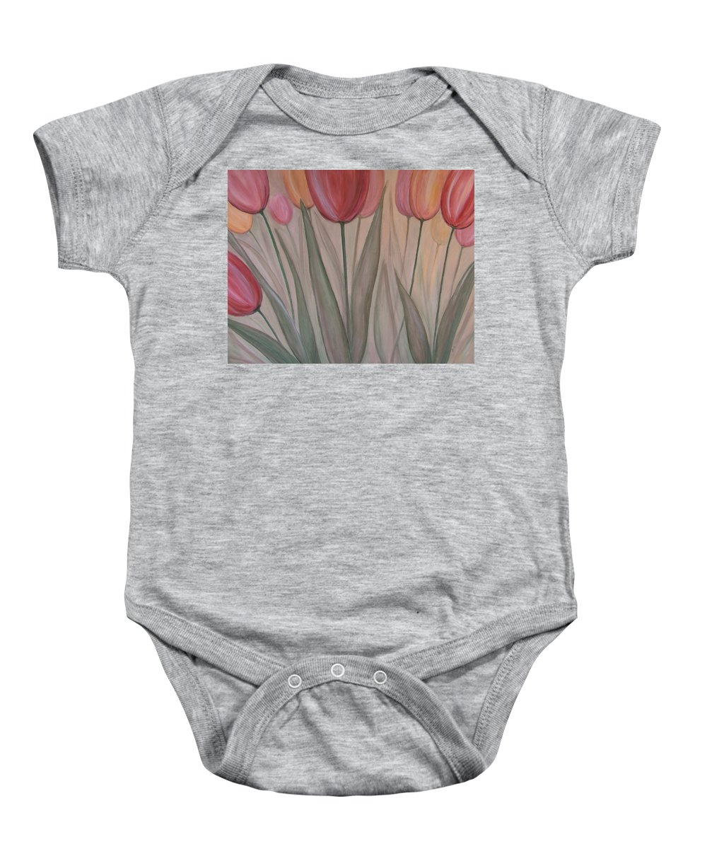 Tulips Baby Onesie featuring the painting Tulips For Carol by Anita Burgermeister