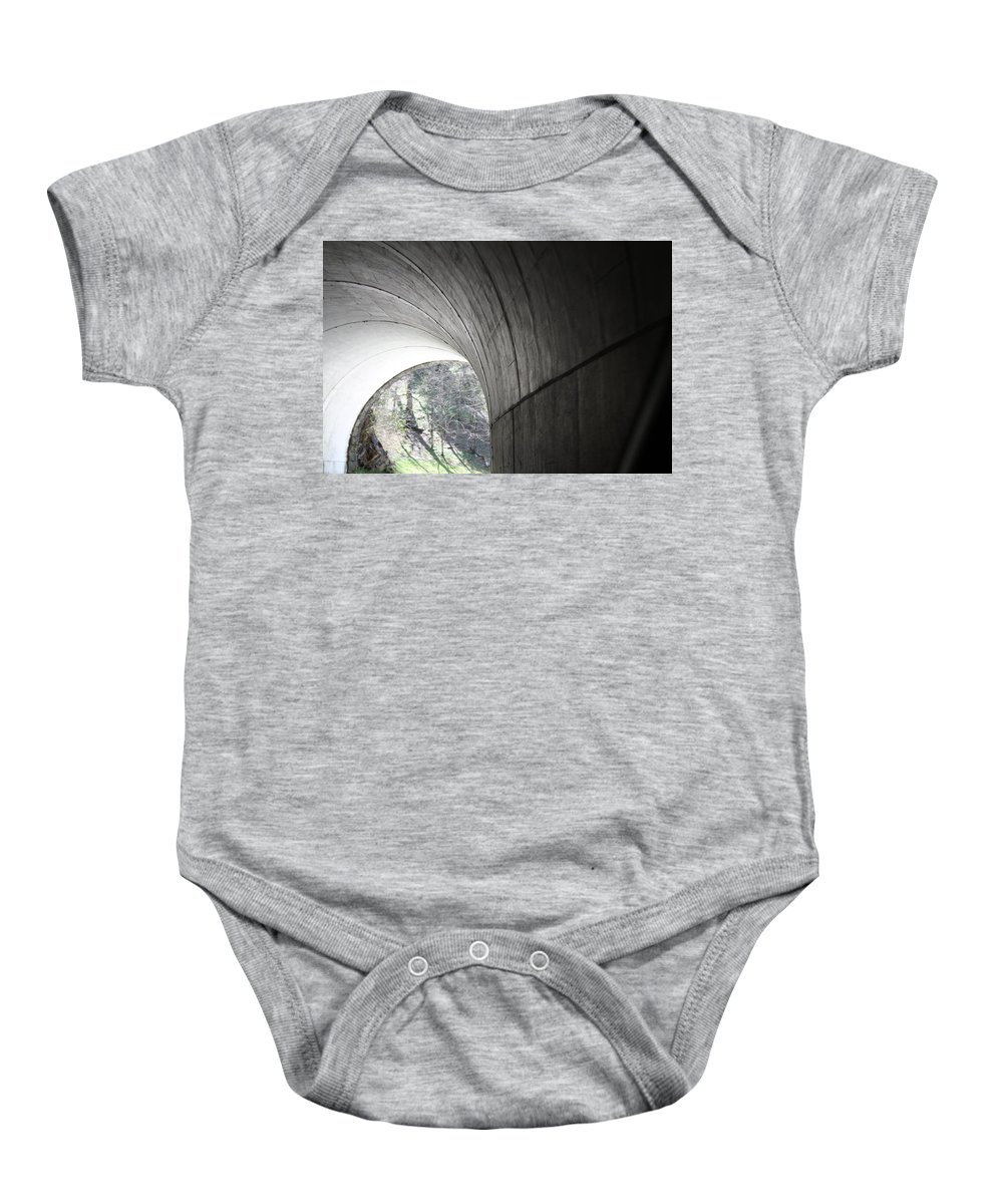 Baby Onesie featuring the photograph Tunnel by Teresa Doran