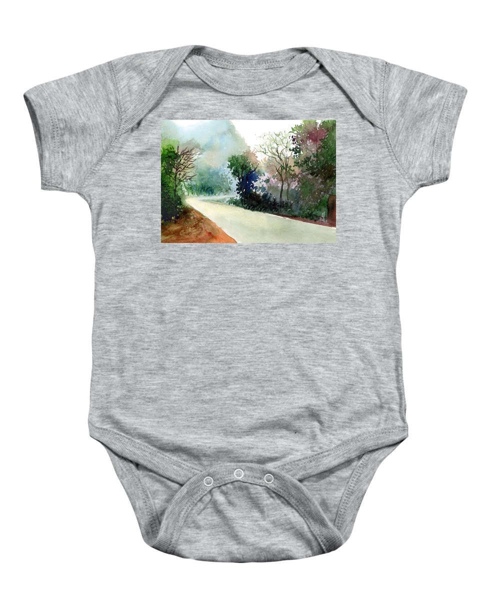 Landscape Water Color Nature Greenery Light Pathway Baby Onesie featuring the painting Turn Right by Anil Nene