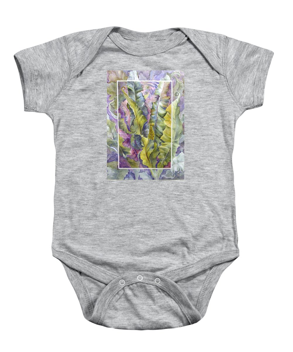 Ferns;floral; Baby Onesie featuring the painting Turns Of Ferns by Lois Mountz