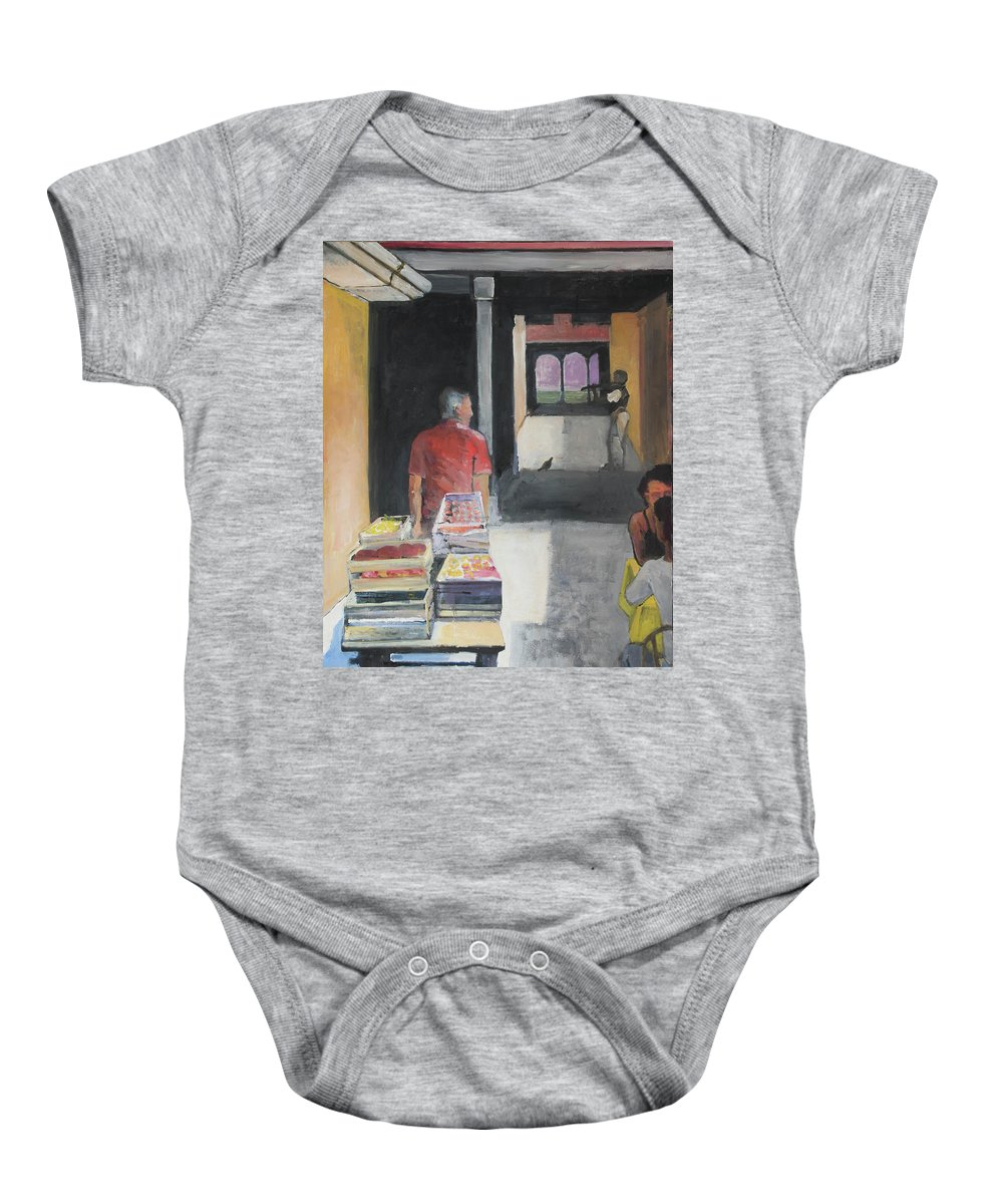Tuscany Baby Onesie featuring the painting Tuscan Fruit And Flirt by Craig Newland
