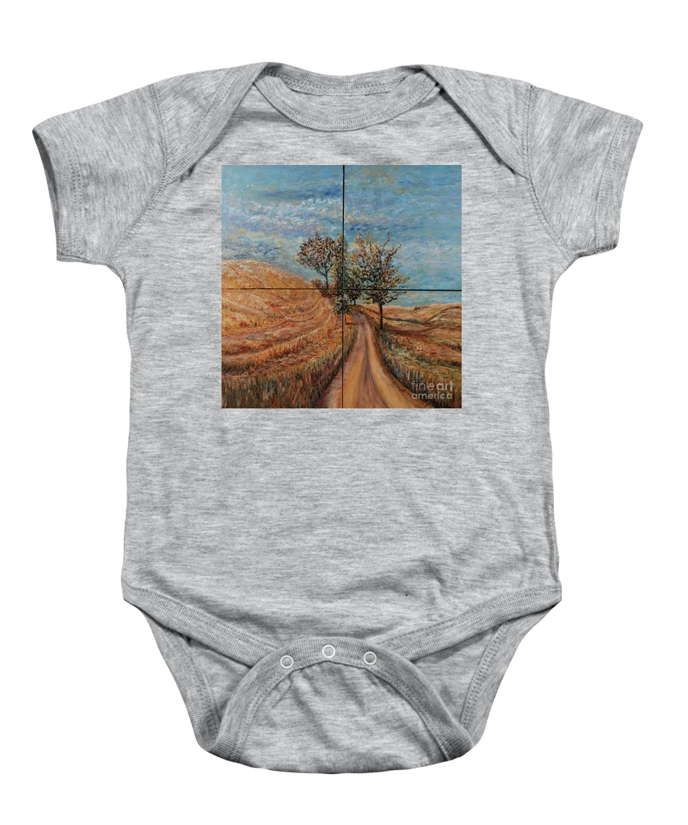 Landscape Baby Onesie featuring the painting Tuscan Journey by Nadine Rippelmeyer