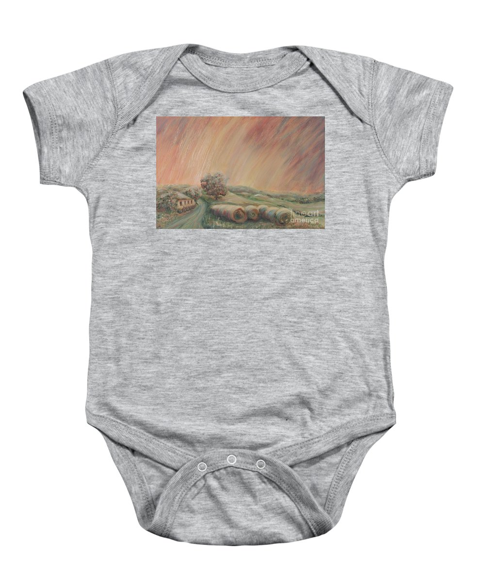 Landscape Baby Onesie featuring the painting Tuscany Hayfields by Nadine Rippelmeyer