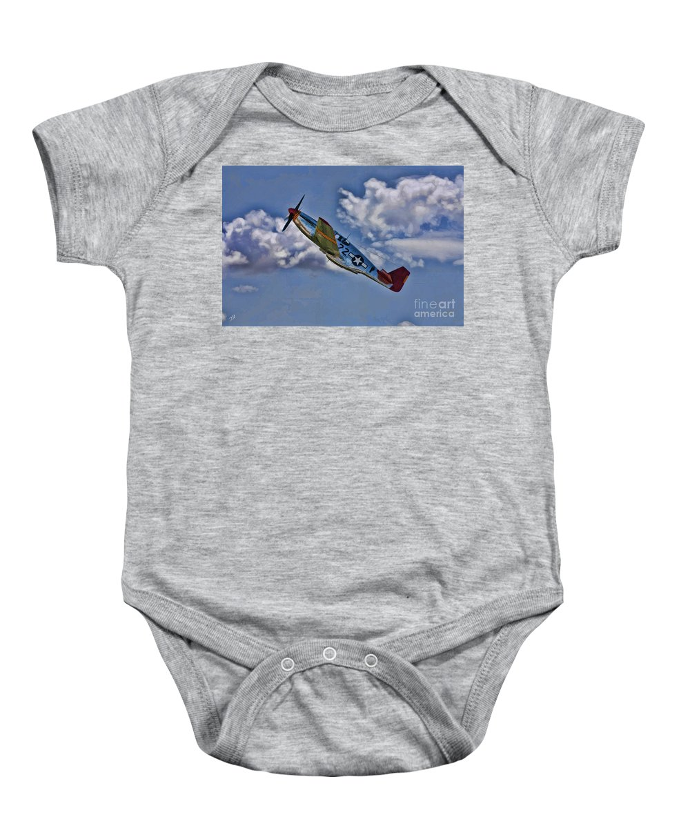 P-51 Baby Onesie featuring the digital art Tuskegee Mustang Red Tail by Tommy Anderson