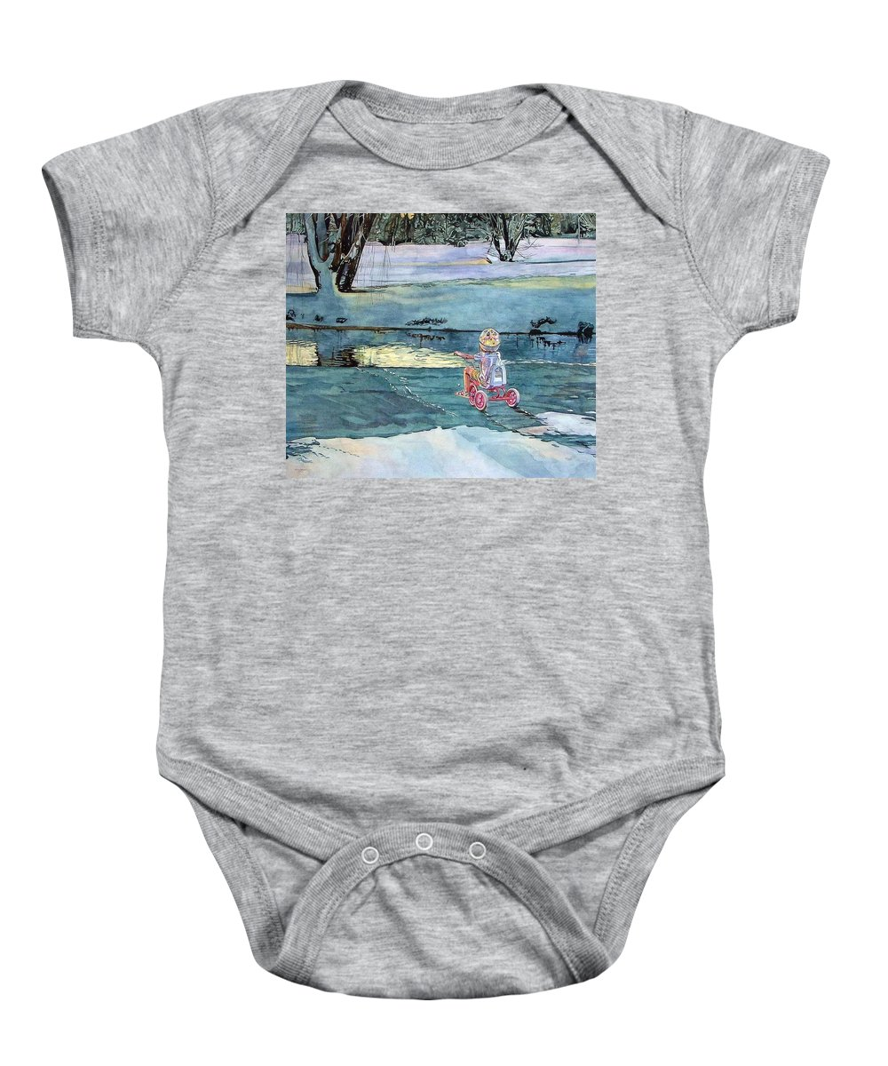 Children Baby Onesie featuring the painting Twilight by Valerie Patterson