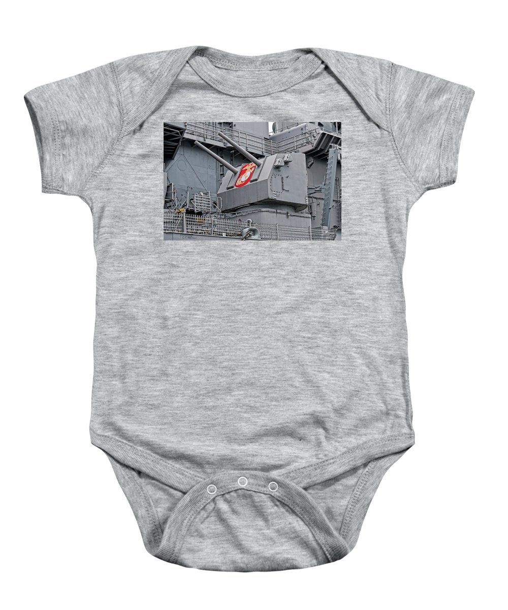 Uss Wisconsin Baby Onesie featuring the photograph Twin Fives by Christopher Holmes