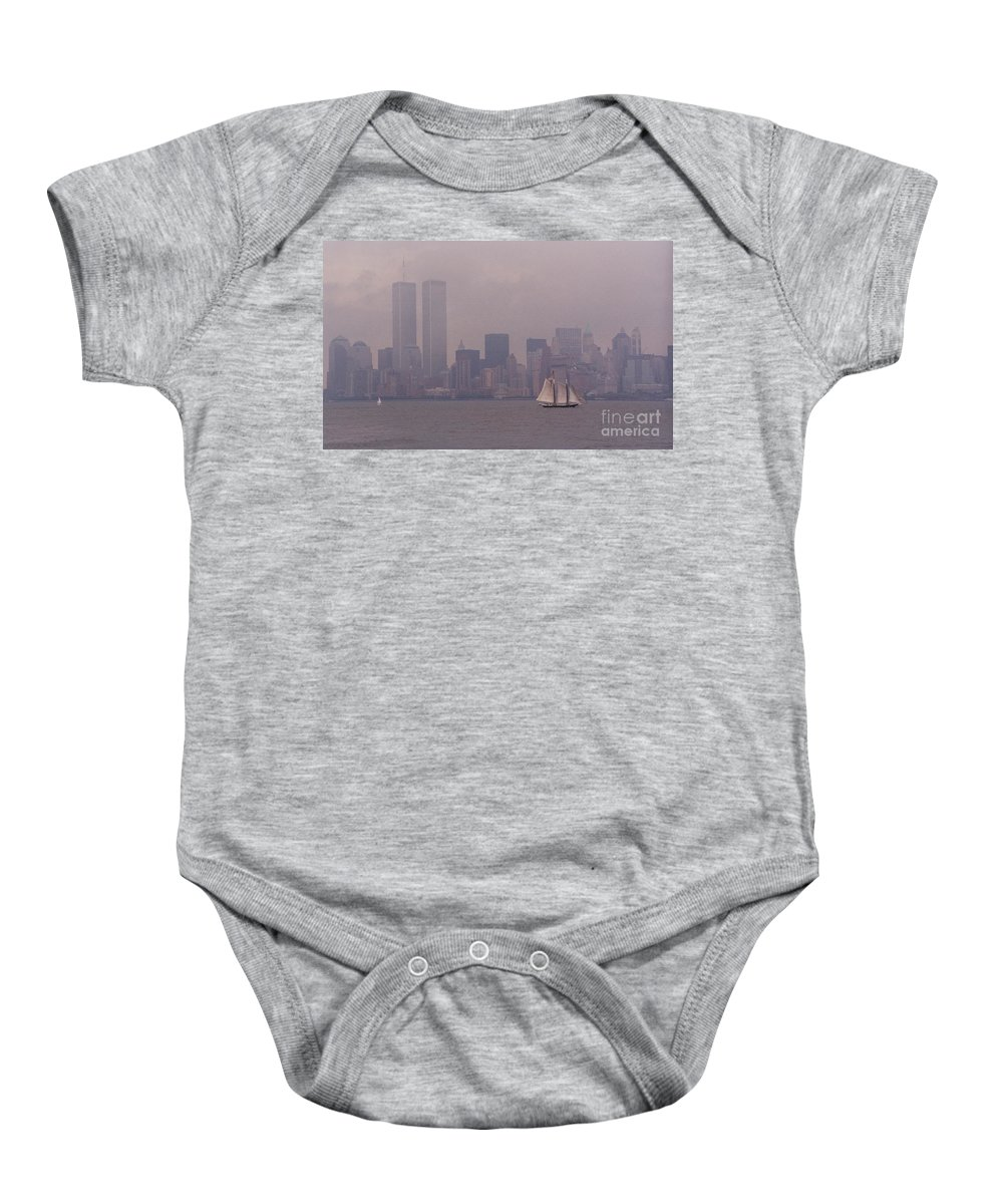 Twin Towers Baby Onesie featuring the photograph Twin Towers, Nyc- 1999 by Sonal Dave