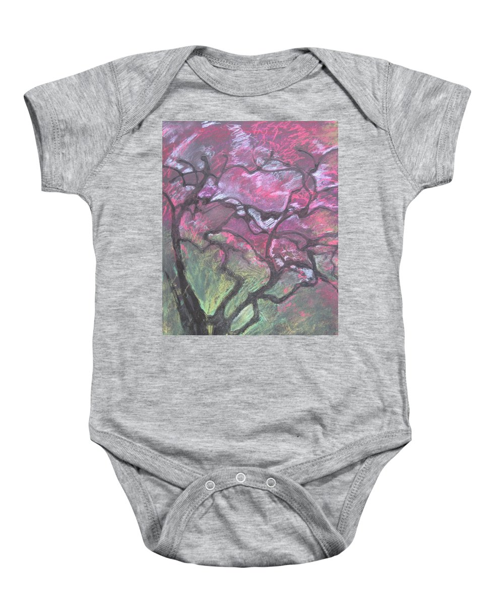 Pastel Baby Onesie featuring the drawing Twisted Cherry by Leah Tomaino