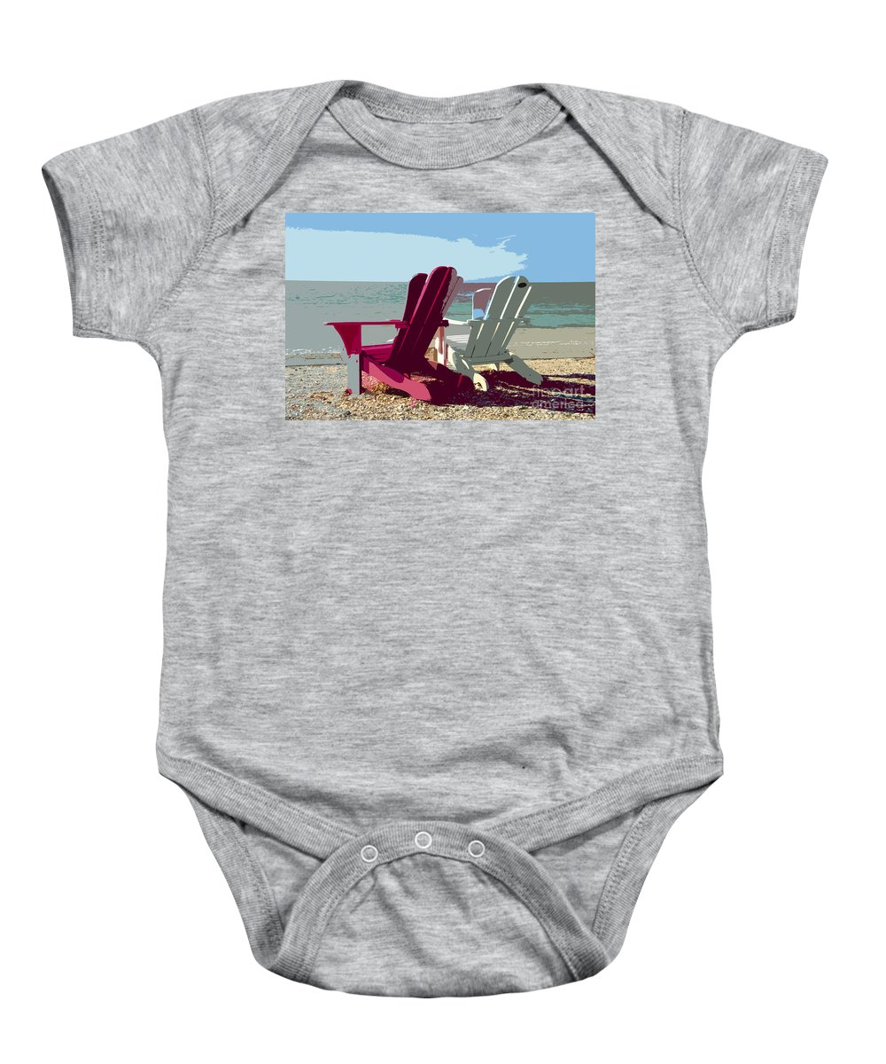 Beach Baby Onesie featuring the painting Two By The Shore by David Lee Thompson