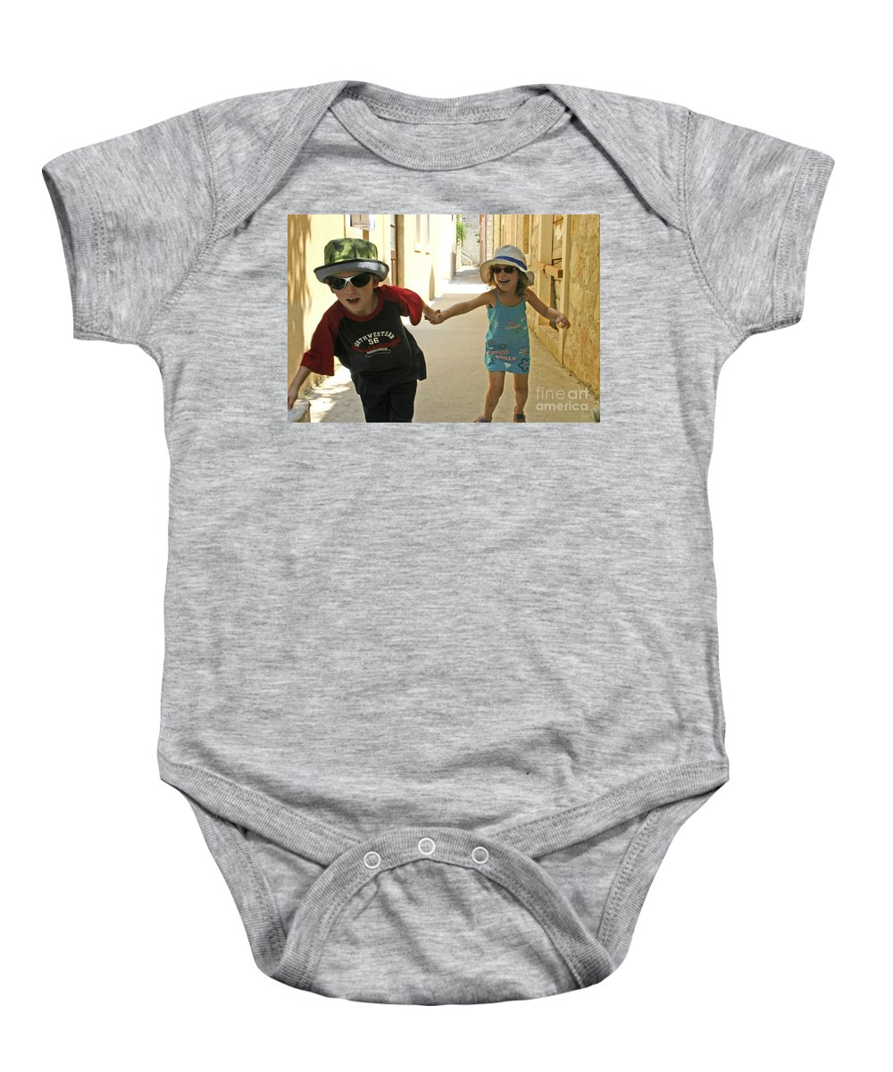 Child Baby Onesie featuring the photograph Two Excited Children by Danny Yanai