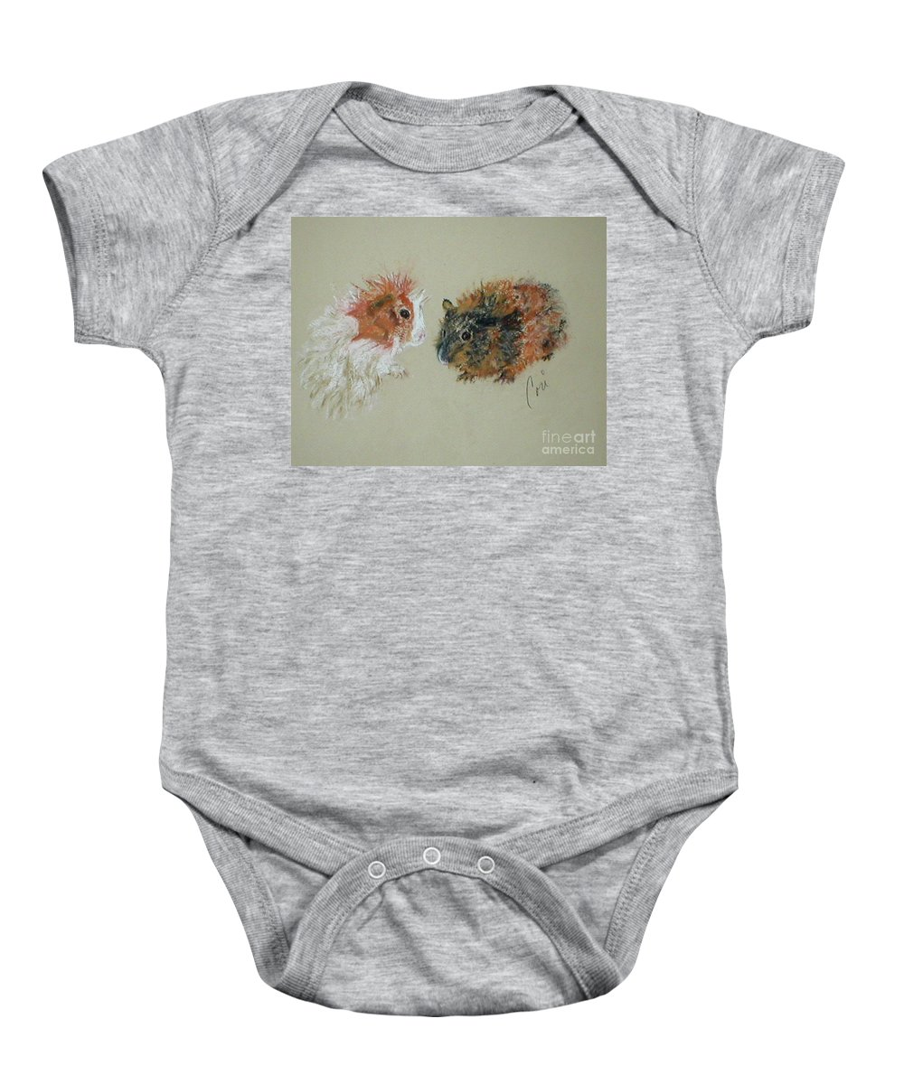 Guineas Baby Onesie featuring the drawing Two Guineas by Cori Solomon