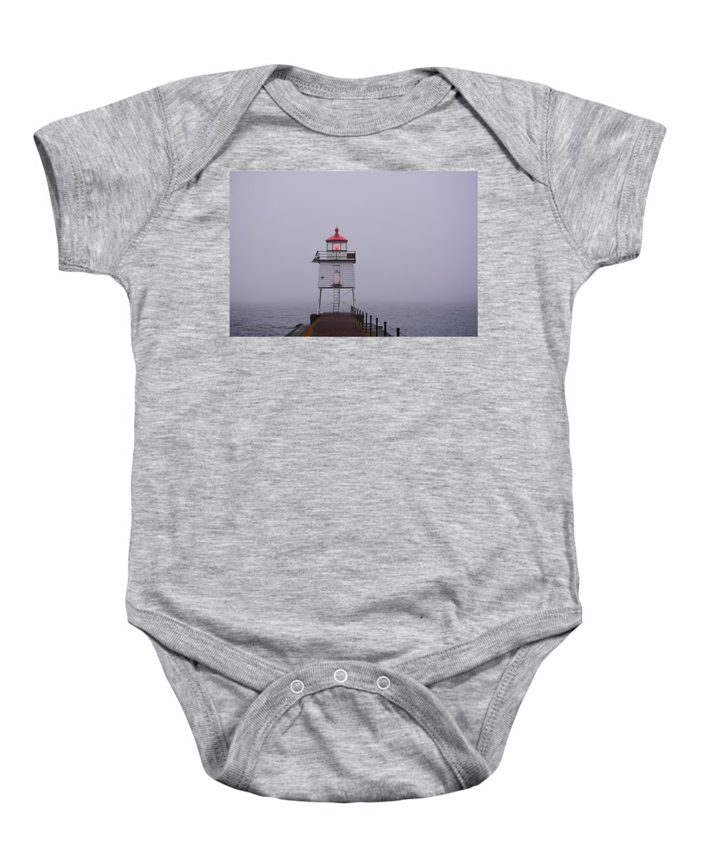 American Baby Onesie featuring the photograph Two Harbors Breakwater by Bonfire Photography