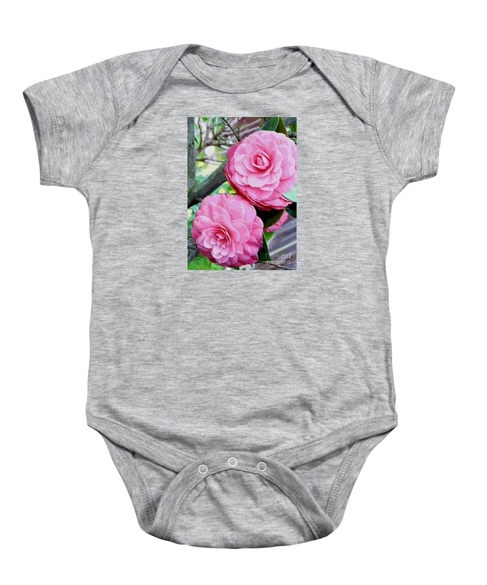 Camellia Baby Onesie featuring the photograph Two Pink Camellias - Digital Art by Carol Groenen