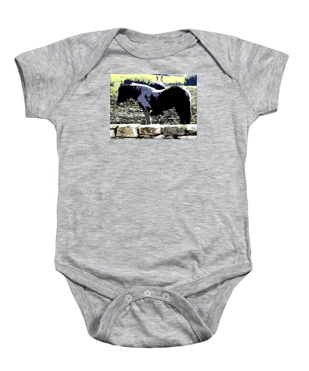 Horses Baby Onesie featuring the painting Two Ponies by Patrick J Murphy