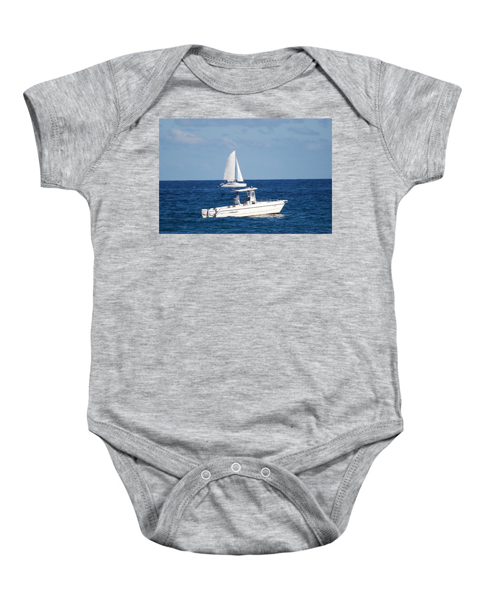 Sea Scape Baby Onesie featuring the photograph Two Ships That Pass Thru The Day by Rob Hans