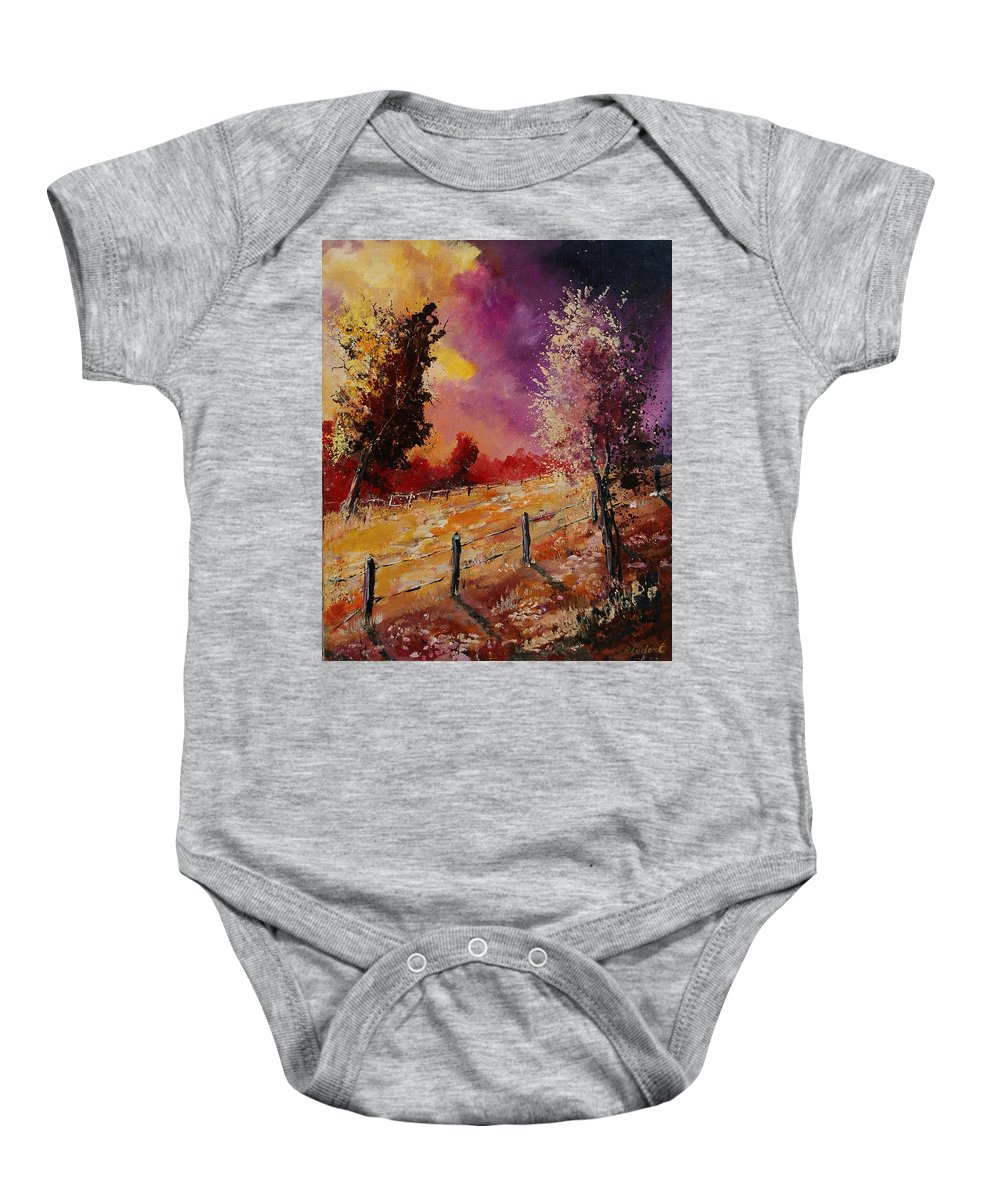 Tree Baby Onesie featuring the painting Two Trees Waiting For The Storm by Pol Ledent