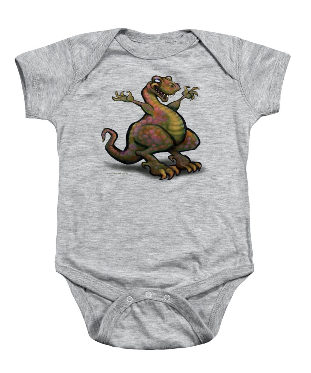 Tyrannosaurus Baby Onesie featuring the digital art Tyrannosaurus Rex by Kevin Middleton