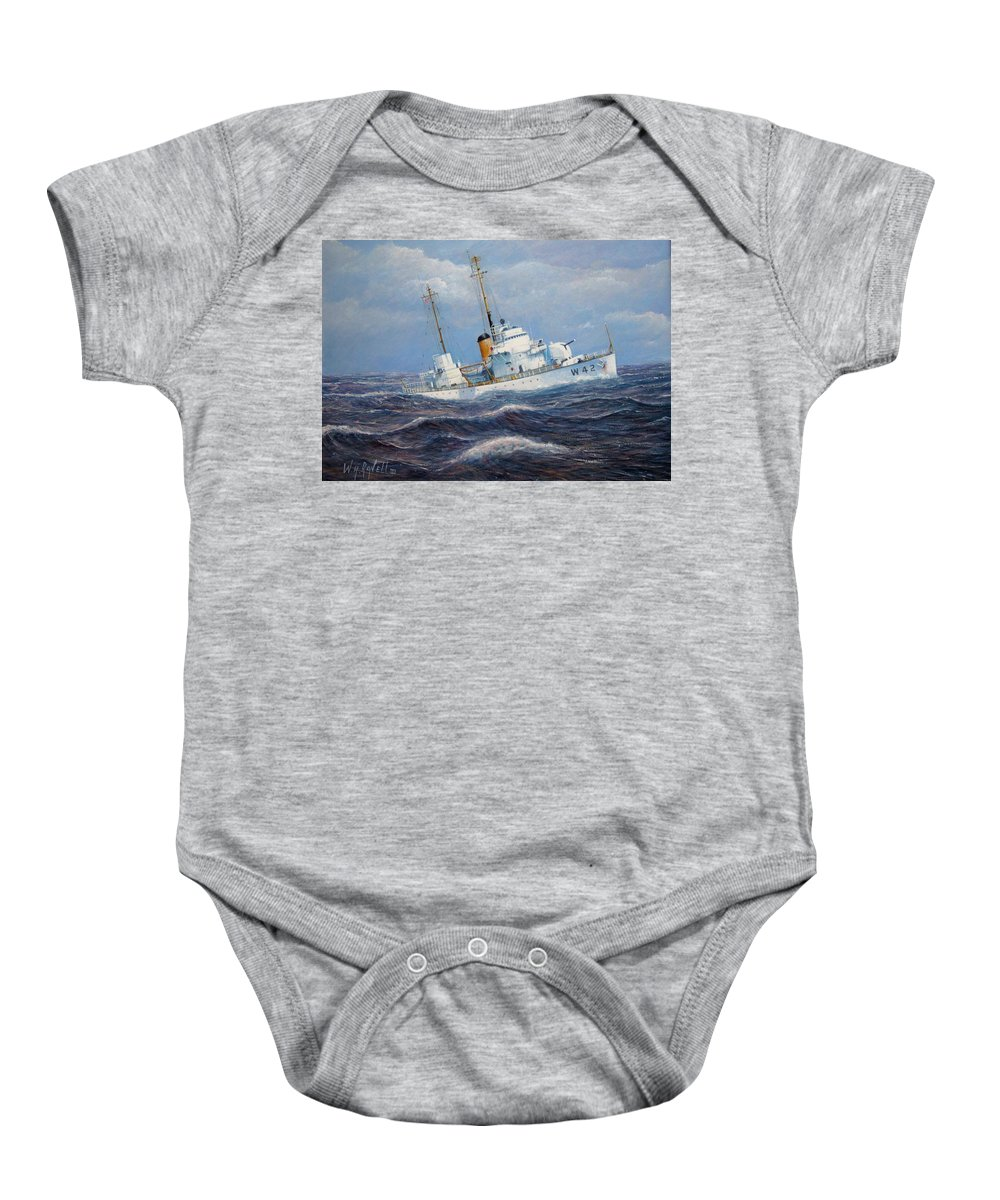 Marine Art Baby Onesie featuring the painting U. S. Coast Guard Cutter Sebago Takes A Roll by William H RaVell III