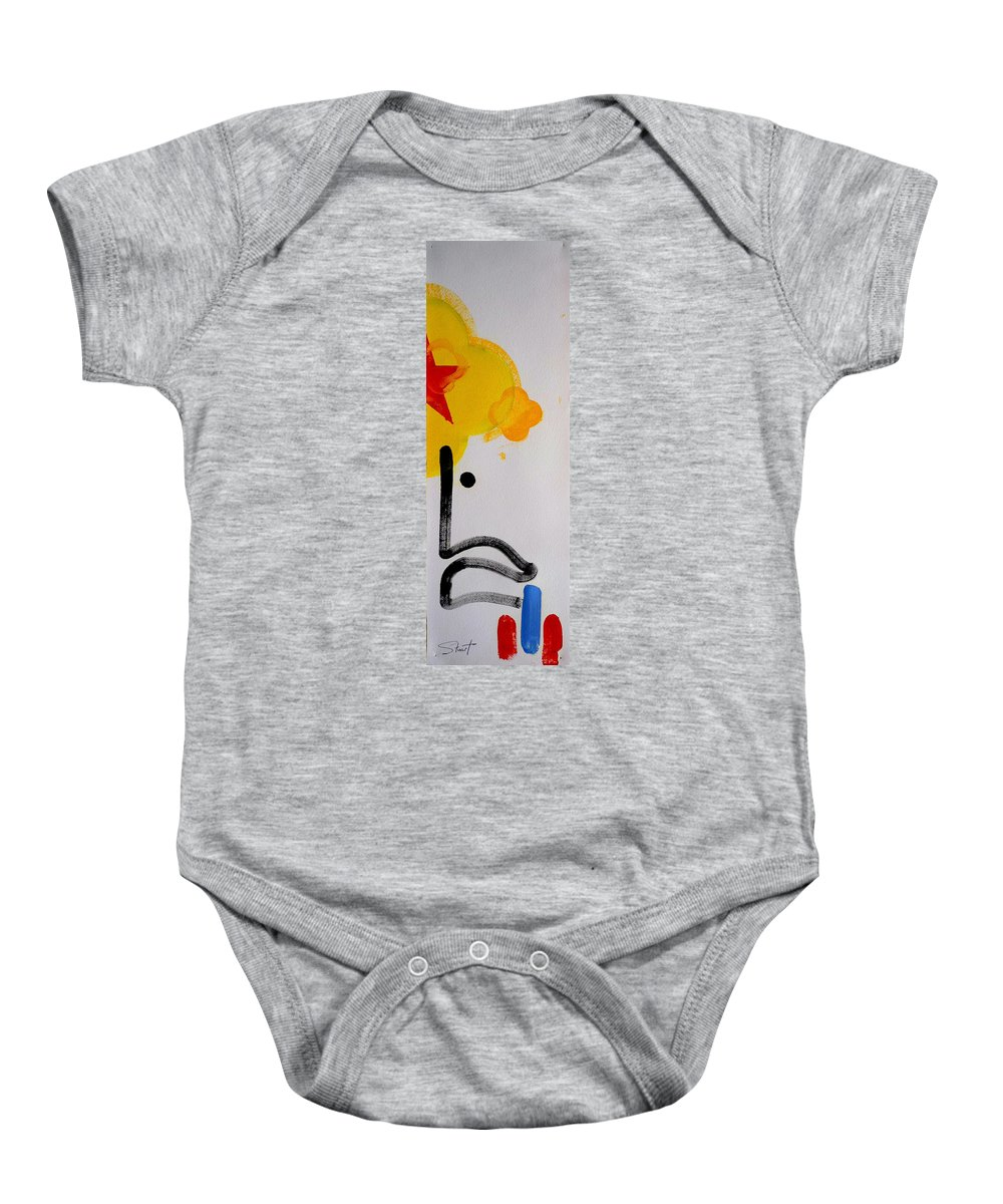 Drawing Baby Onesie featuring the painting UN by Charles Stuart