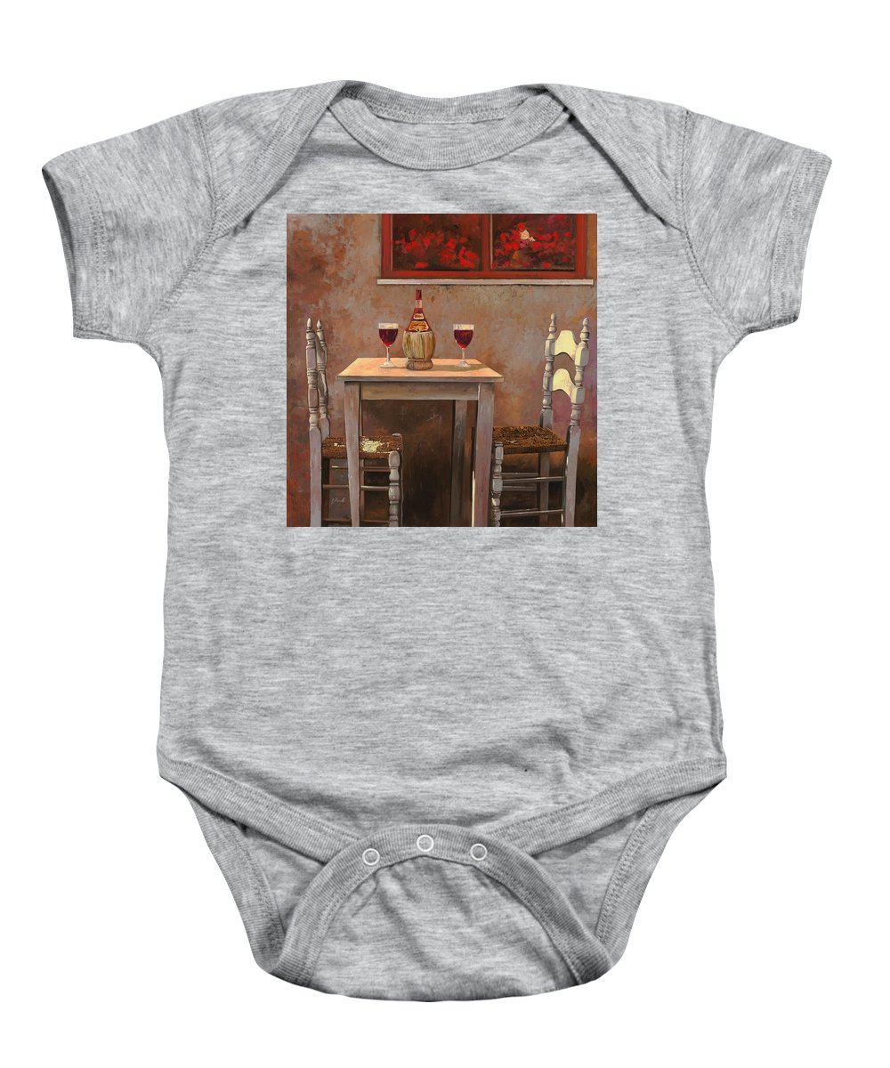 Chianti Baby Onesie featuring the painting un fiasco di Chianti by Guido Borelli