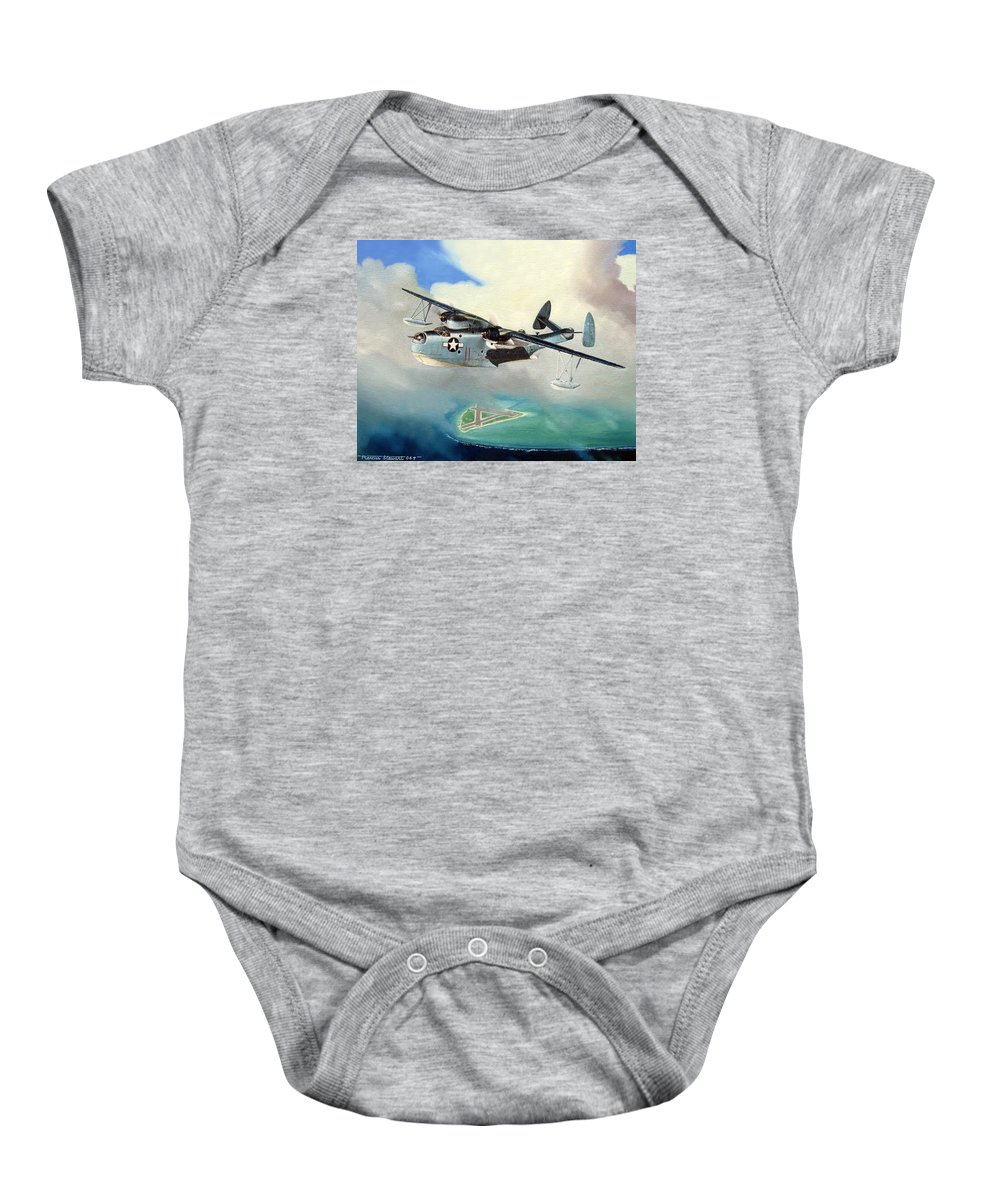 Military Baby Onesie featuring the painting Uncle Bubba's Flying Boat by Marc Stewart