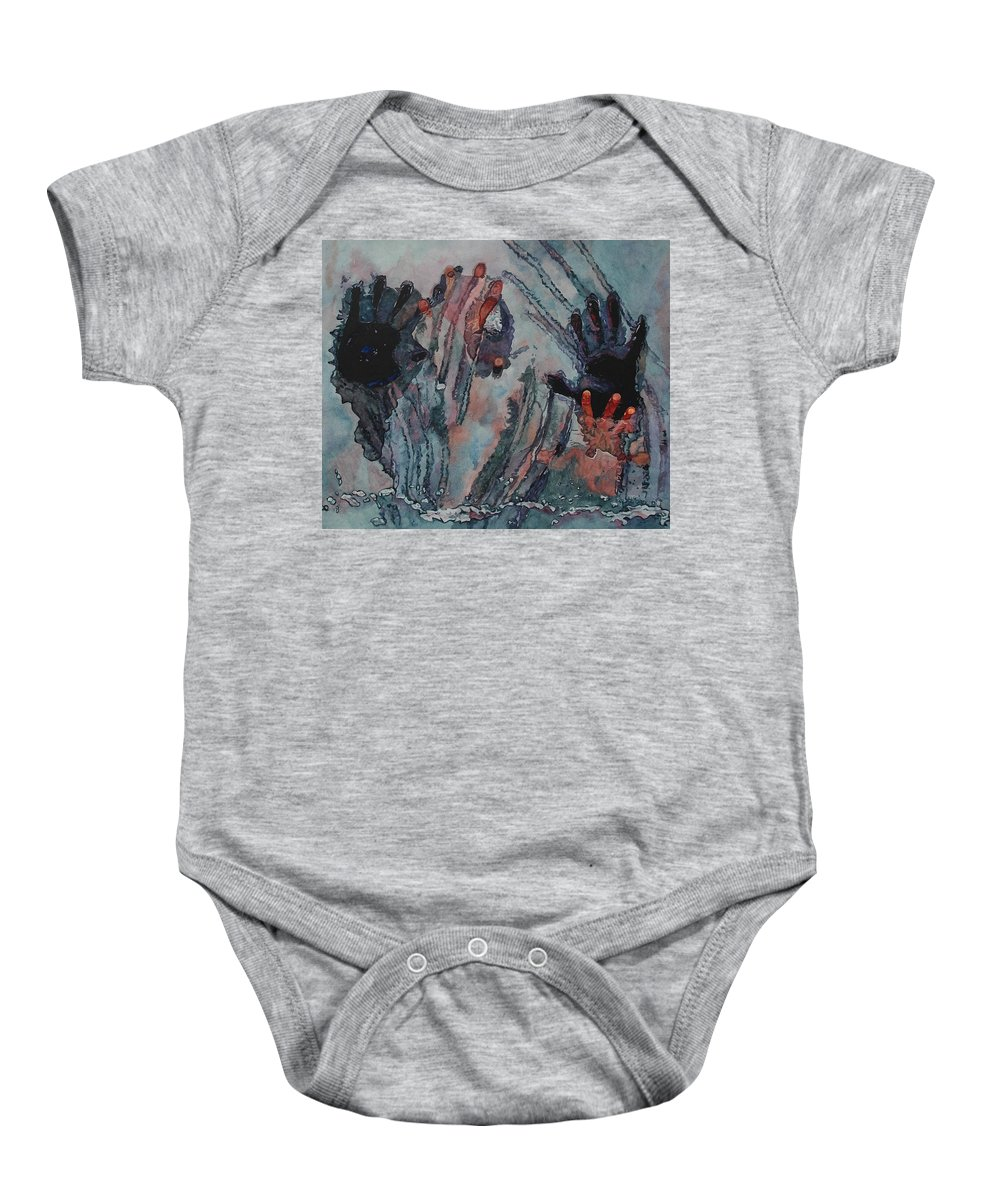 Underneath Baby Onesie featuring the painting Under Ice by Valerie Patterson