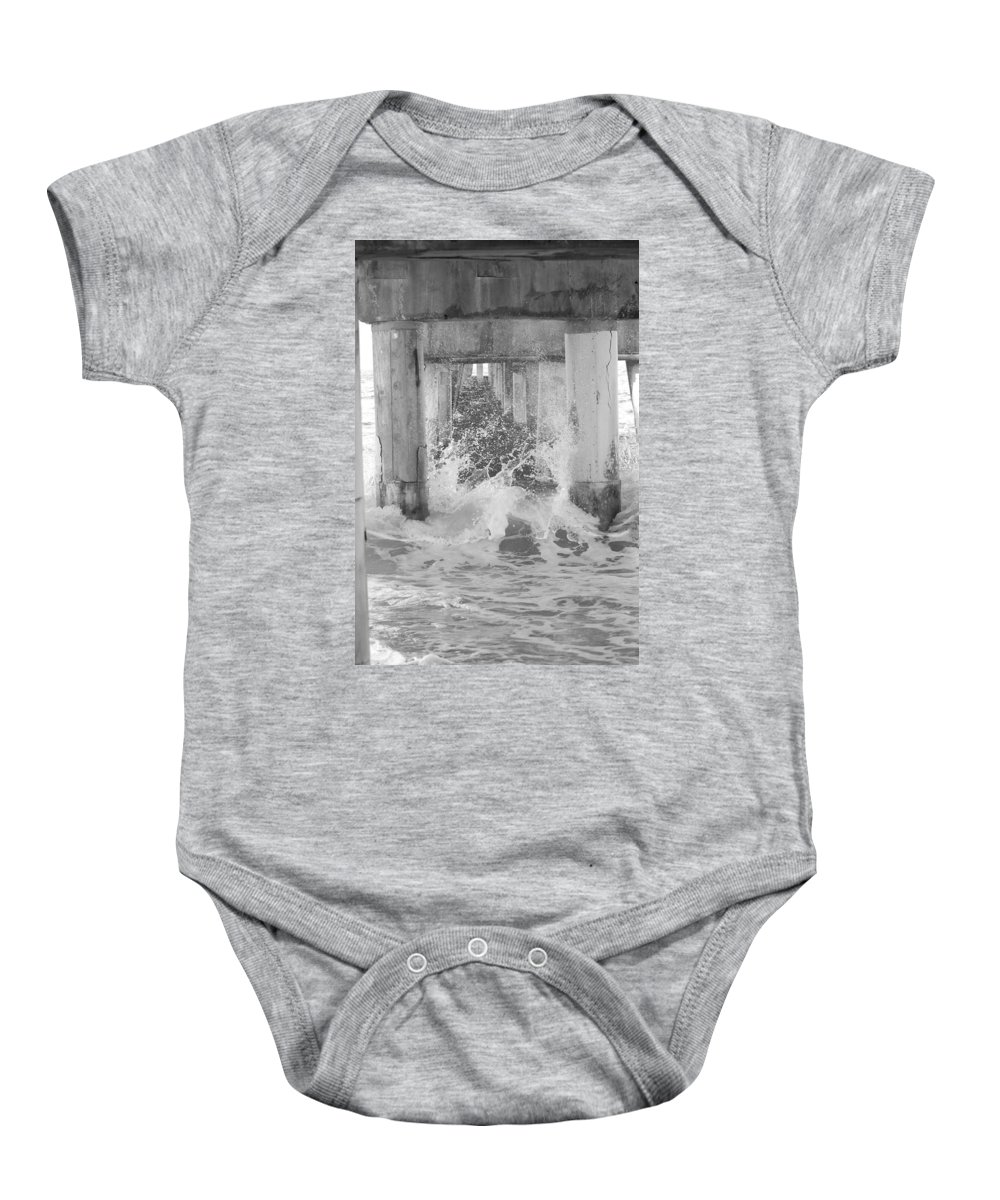 Black And White Baby Onesie featuring the photograph Under The Boardwalk by Rob Hans