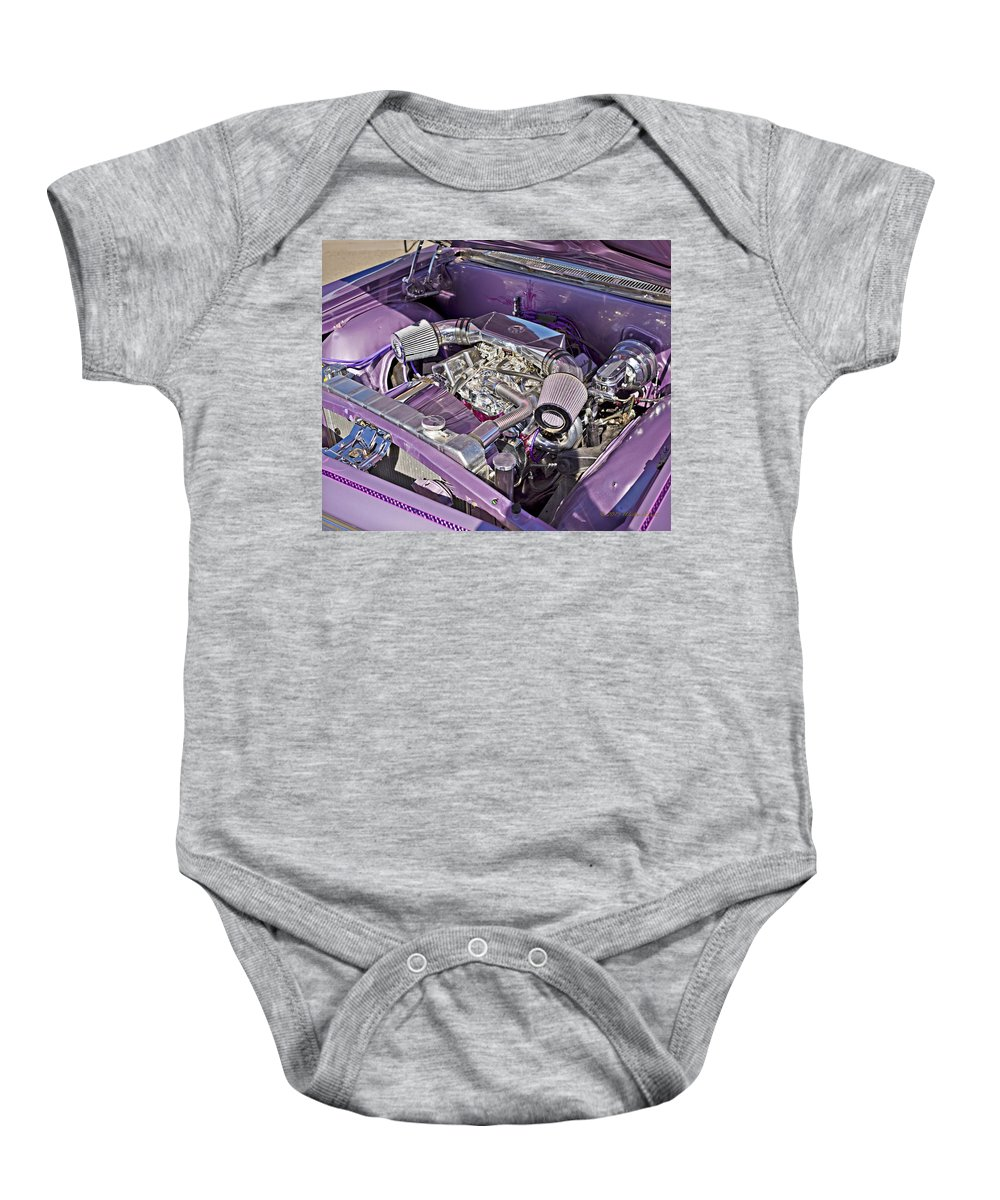 66 Chevy Impala Baby Onesie featuring the photograph Under The Hood 66 Impala_1b by Walter Herrit
