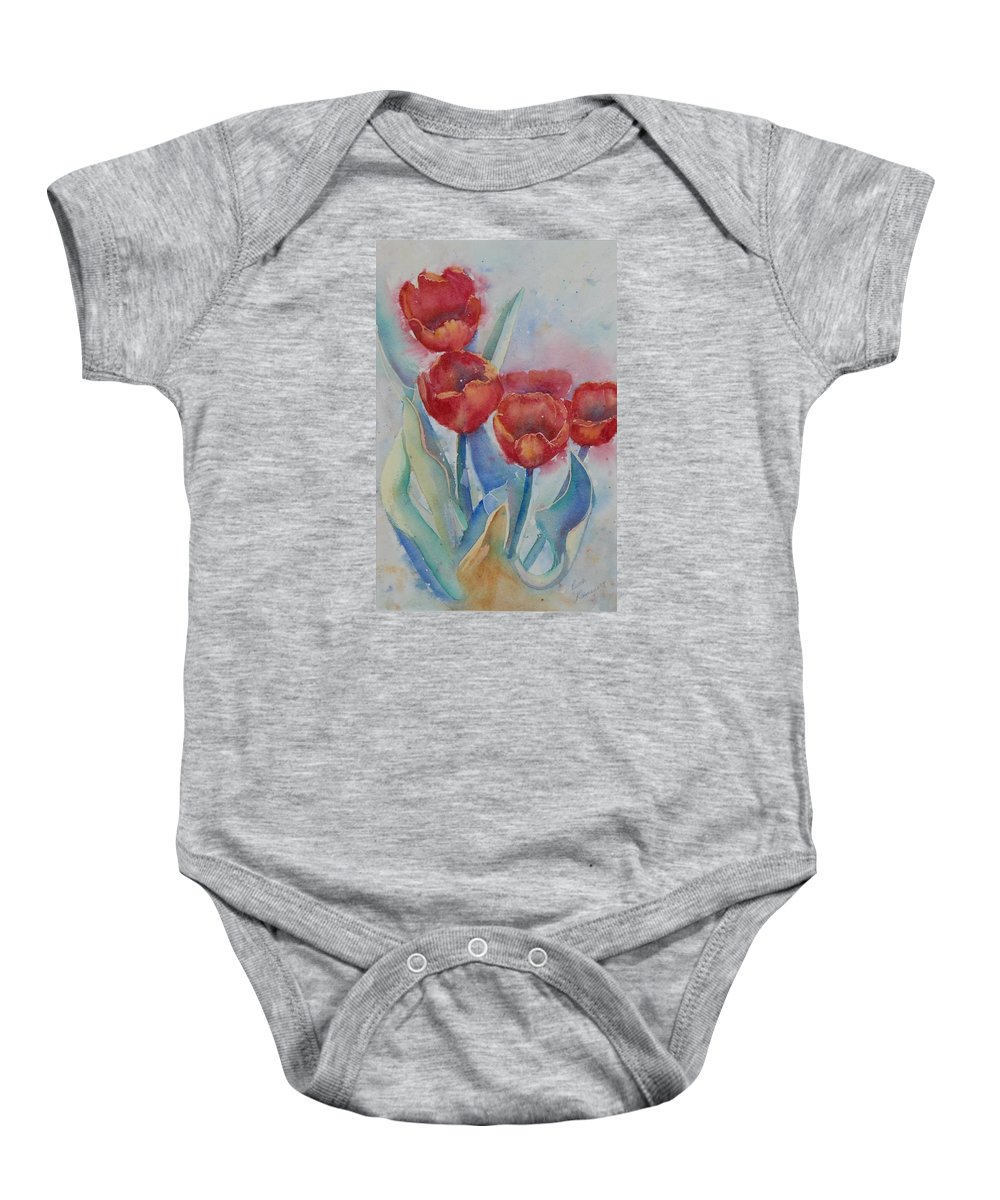 Flowers Baby Onesie featuring the painting Undersea Tulips by Ruth Kamenev