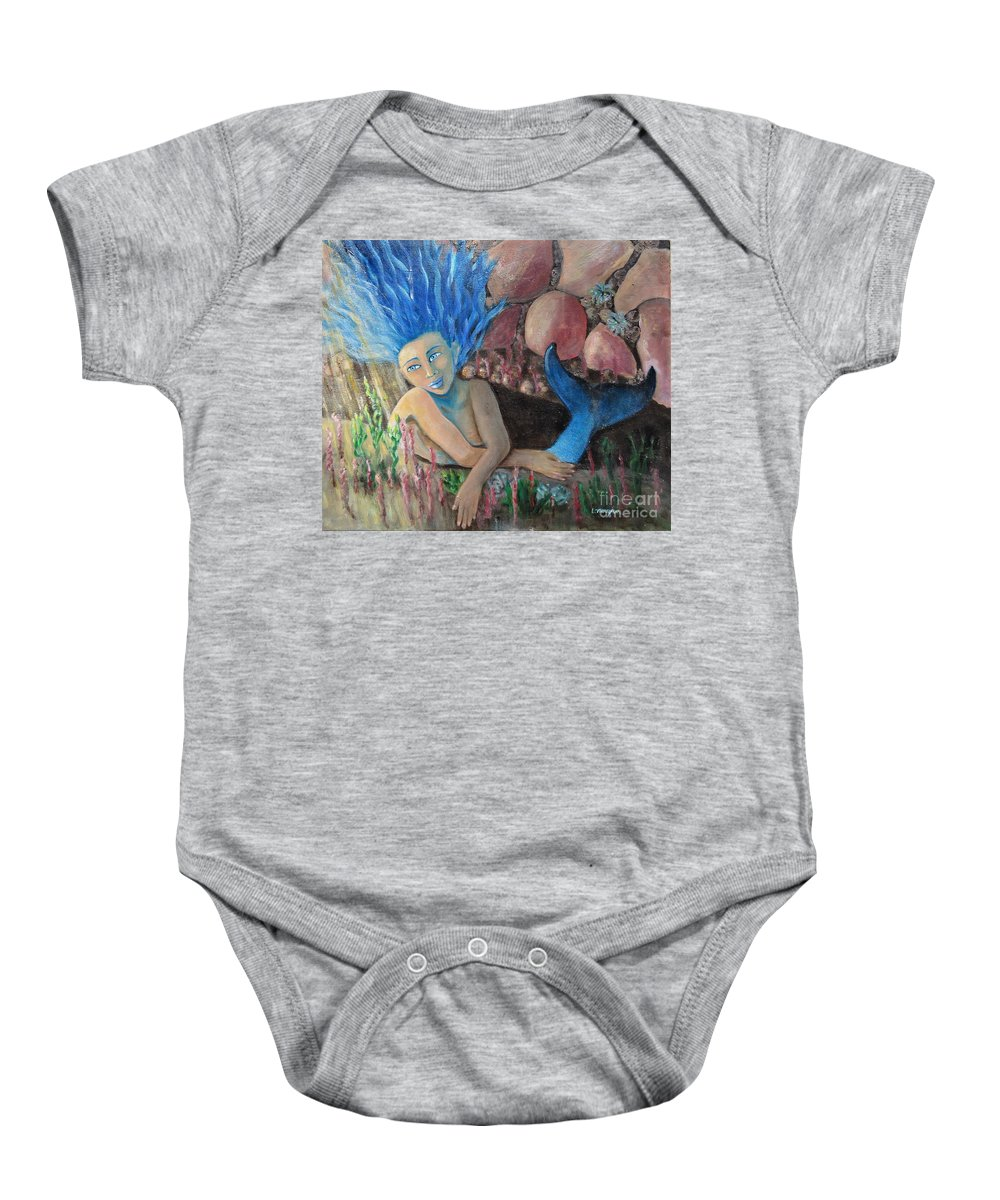 Mermaid Baby Onesie featuring the painting Underwater Wondering by Laurie Morgan