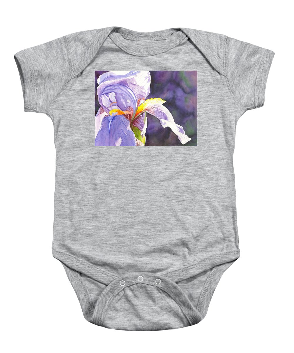 Iris Baby Onesie featuring the painting Unfurling by Catherine G McElroy