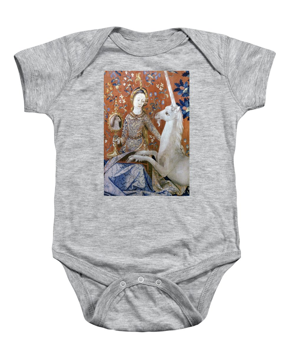 15th Century Baby Onesie featuring the photograph Unicorn Tapestry, 15th C by Granger