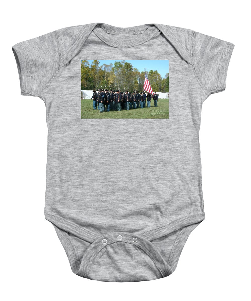 Union Baby Onesie featuring the photograph Union Infantry March by Tommy Anderson