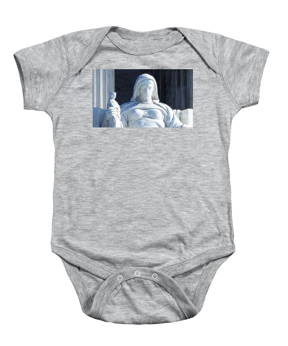 United States Supreme Court Baby Onesie featuring the photograph United States Supreme Court, The Contemplation Of Justice Statue, Washington, Dc 4 by Anthony Schafer