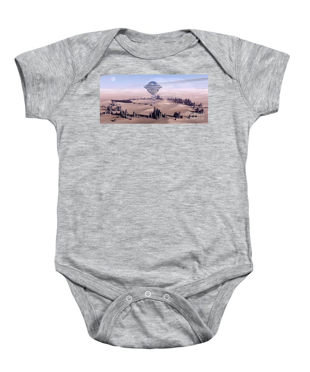 Surreal Baby Onesie featuring the digital art Universal Time by Richard Rizzo