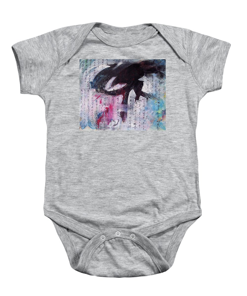 Peom Paintings Paintings Baby Onesie featuring the painting Unread Poem Black And White Paintings by Seon-Jeong Kim