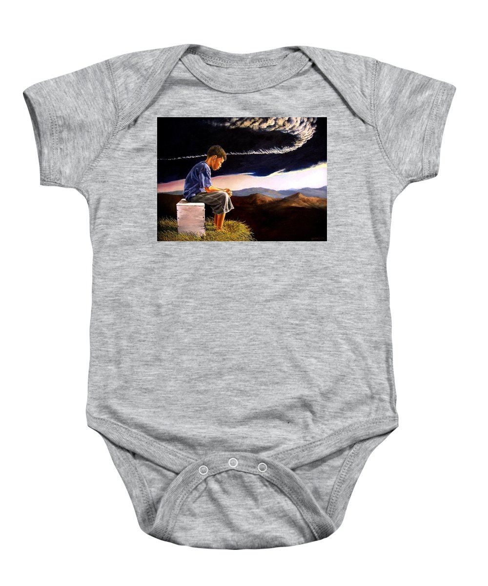 Mountain Baby Onesie featuring the painting Unscarred Mountain by Christopher Shellhammer