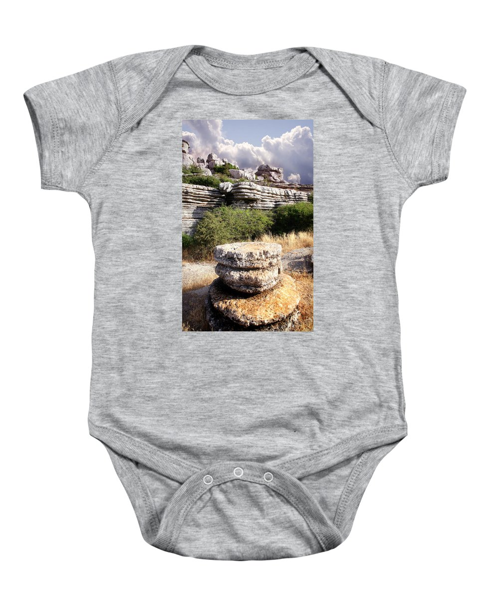 Limestone Baby Onesie featuring the photograph Unusual Rock Formations In The El Torcal Mountains Near Antequera Spain by Mal Bray