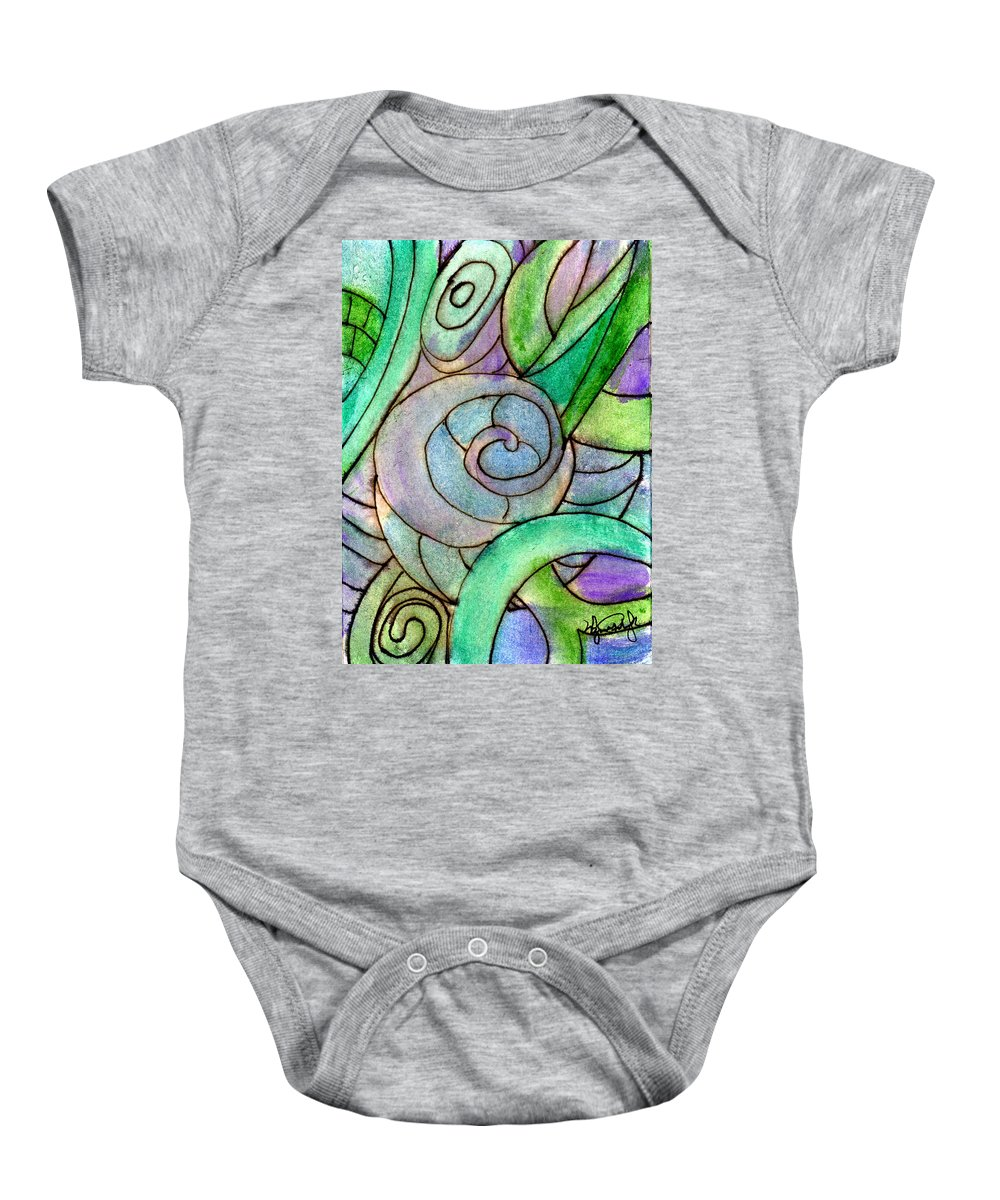 Abstract Baby Onesie featuring the painting Up Close In The Garden by Wayne Potrafka