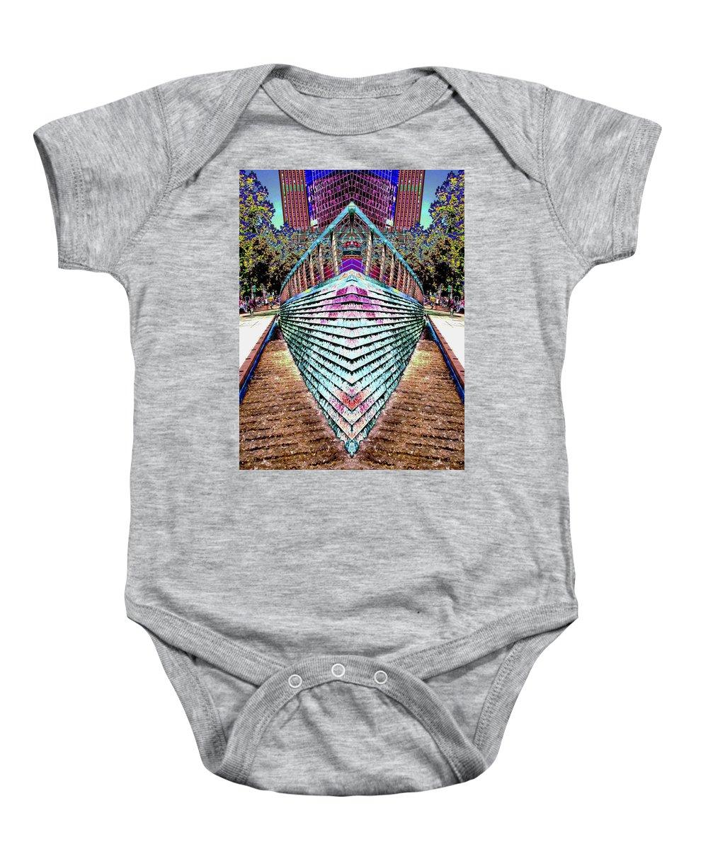 Seattle Baby Onesie featuring the digital art Urban Confluence by Tim Allen