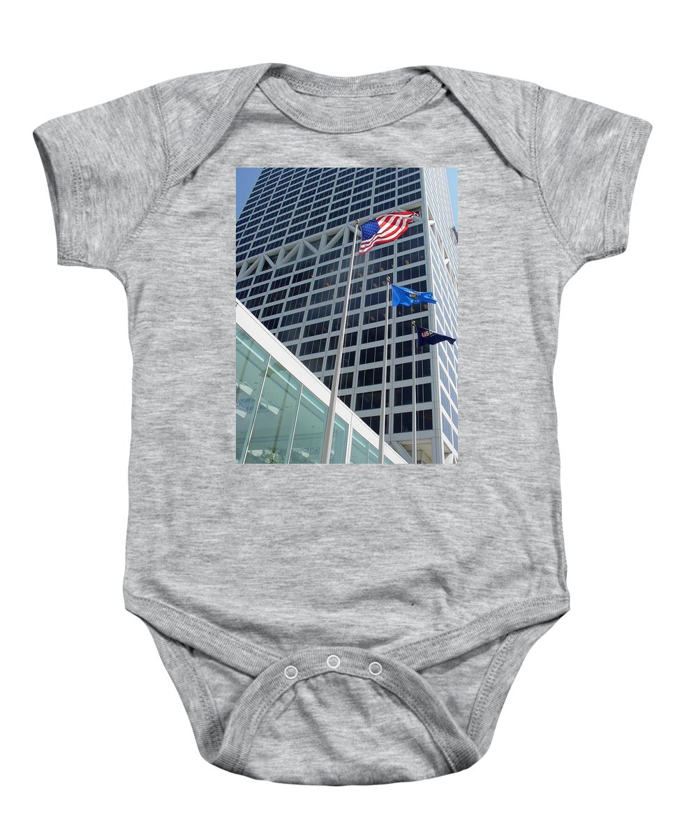 Us Bank Baby Onesie featuring the photograph Us Bank With Flags by Anita Burgermeister