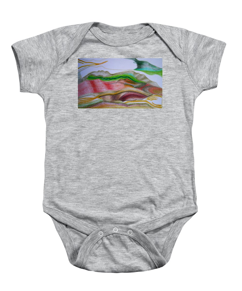 Abstract Baby Onesie featuring the painting Valley Stream by Suzanne Udell Levinger