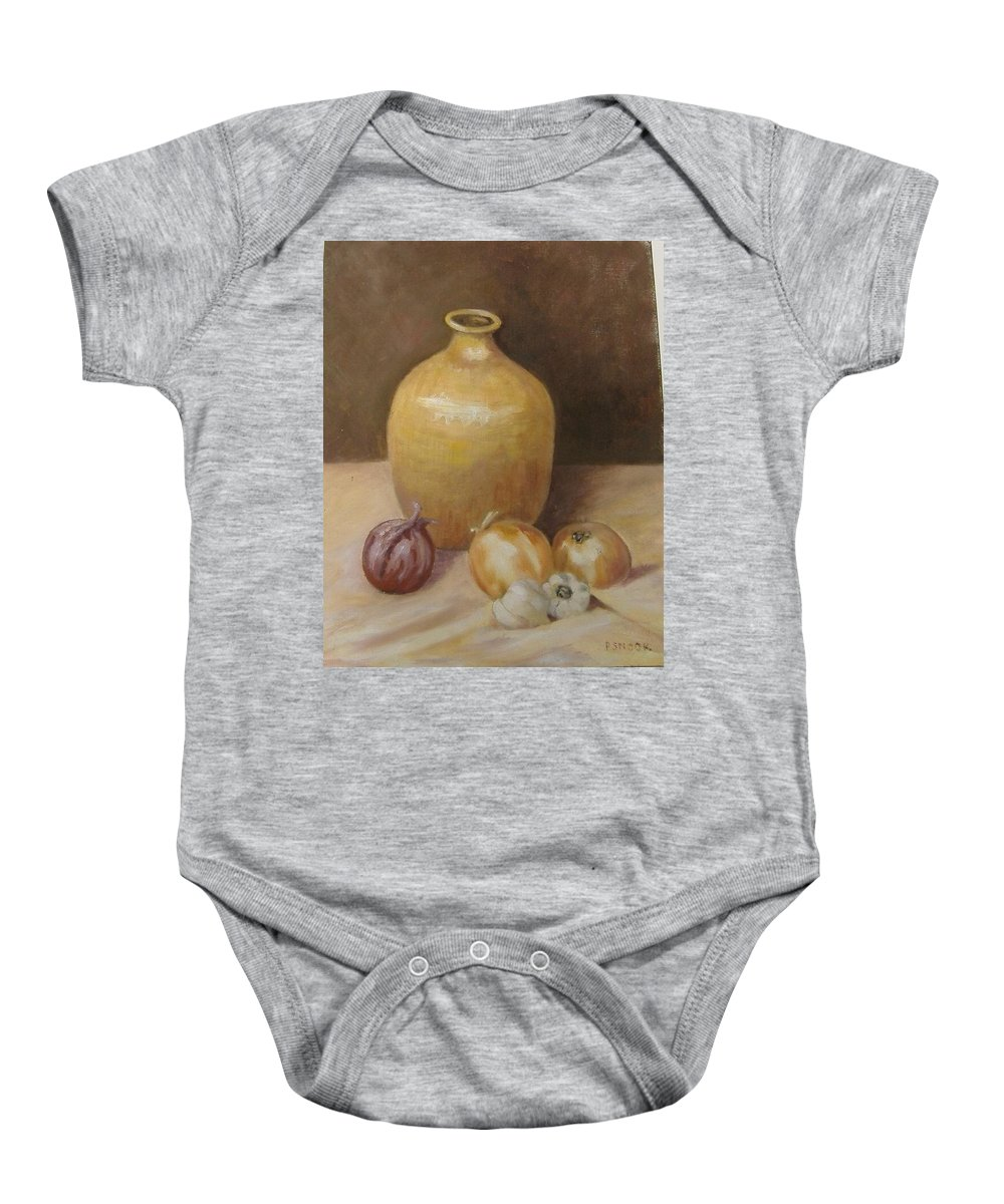 Still Life Baby Onesie featuring the painting Vase With Onion by Pat Snook