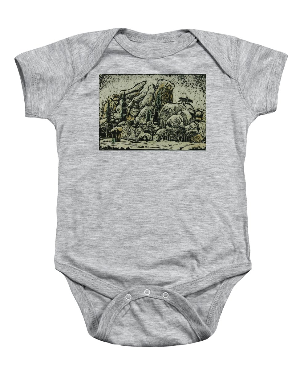 Landscape Baby Onesie featuring the drawing Vedauwoo by Dawn Senior-Trask